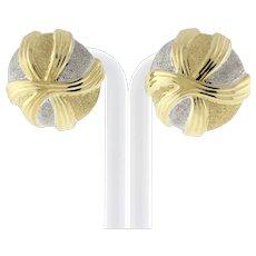 "Estate Two-Tone 14K Gold Round Earrings Omega Backs Sparkle Finish 1"" Round"
