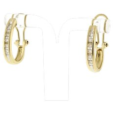 "Estate Diamond J Hoop Earrings 14K Yellow Gold 0.60 TW Channel Set Omega Back 1"""