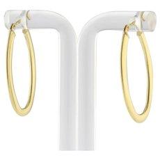 """Vintage Oval Hoop Earrings 14K Yellow Gold 1.25"""" Ladies Snap Closure"""
