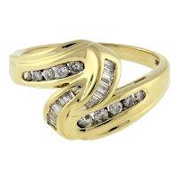 Estate Diamond Swirl Knot Ring 14K Yellow Gold 0.50 CTW Baguette Round Dia SZ 7