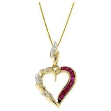 "Vintage Princess Cut Ruby Diamond Open Heart Pendant 10K Yellow Gold 1"" Ladies"