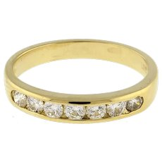 Half Eternity Diamond Band Ring 14K Yellow Gold 0.53 TW Channel Set Round SZ 6.5