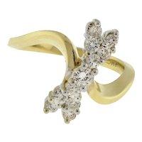 Estate Diamond Bow Ring 14K Yellow Gold 0.55 CTW Round Diamonds Ladies SZ 6.25