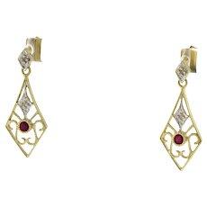 "Vintage Ruby Diamond Filigree Dangle Earrings 10K Yellow Gold Ladies 1"" Drop"