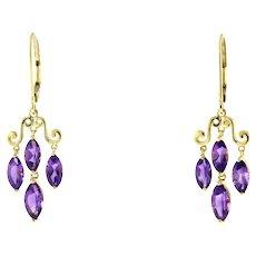 Vintage Marquise Amethyst Chandelier Earrings Drop Dangle 10K Y/Gold Lever Backs