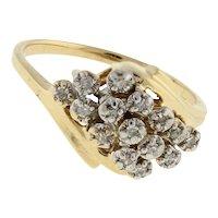 Estate Cluster Diamond Cocktail Ring 14K Yellow Gold 0.15 CTW Round Dia Size 6