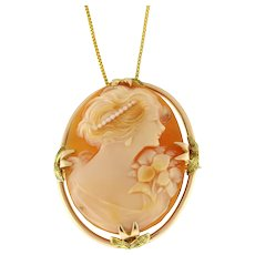 """Vintage Carved Cameo Brooch Pin Pendant 10K Yellow Gold Frame 1"""" Ladies"""
