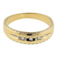 Vintage Keepsake 3-Stone Diamond Ring 14K Yellow Gold 0.06 CTW Size 8.25 Unisex
