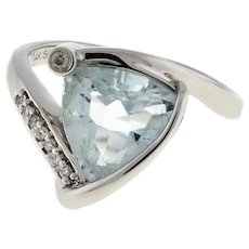 Vintage Aquamarine Diamond Statement Ring 14K White Gold Trillion Cut Ladies 6.5