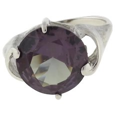 Vintage Color Changing Gemstone Statement Ring 10K W/Gold 6.00 CTW 12 mm SZ 6.25