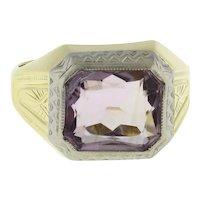 Vintage Amethyst Gemstone Ring 10K Two-Tone Gold Size 8.25 Unisex Estate