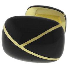 Men's Tiffany & Co. 18K Yellow Gold & Black Enamel Cufflink Single Only