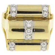 Vintage Ribbed Diamond Dome Ring 18K Yellow Gold 0.40 CTW Modernist Ladies SZ 6