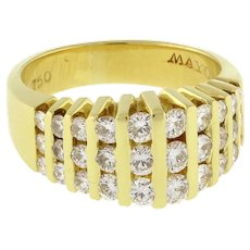 Estate Mayors Diamond Dome Ring 18K Yellow Gold 1.25 CTW Channel Set Rounds SZ 6