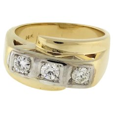Estate 3-Stone Diamond Crossover Ring 14K Two-Tone Gold 0.57 CTW Rounds SZ 7