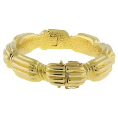 "Estate Chimento Fancy Bangle 18K Yellow Gold Ridged Station Bracelet Ladies 7"""