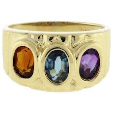 Vintage Gemstone 3-Stone Band Ring 14K Yellow Gold Oval Gems 6 x 4 mm SZ 7.75