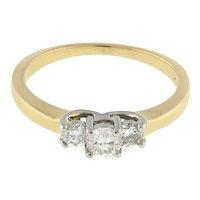 Estate 3-Stone Diamond Band Ring Platinum/14K Yellow Gold 0.40 CTW Rounds SZ 7