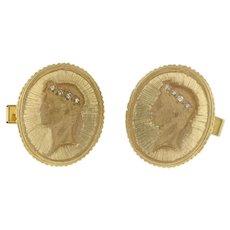 "Men's 14K Yellow Gold Diamond Accented Cufflinks 0.08 CTW H/VS 1"" Estate"