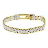 """Men's Designer 18K Two-Tone Gold Fancy Bersani Bracelet 8.5"""" Estate Jewelry"""