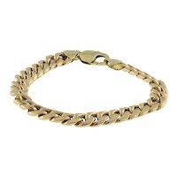 "Men's Estate Cuban Link Bracelet 14K Yellow Gold 9"""