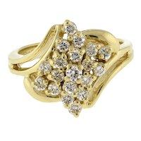 Estate Diamond Cluster Floral Swirl Ring 14K Yellow Gold 0.75 CTW Ladies SZ 4.5