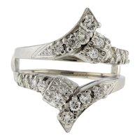 Estate Diamond Jacket Ring Bridal Wedding 14K White Gold 1.00 CTW SZ 7.75