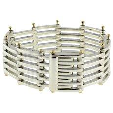 "Tiffany & Co. Sterling Silver & 18K Yellow Gold Gate Link Bracelet 6.5"" Unisex"