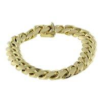 "Men's 10K Yellow Gold Cuban Link Chain Bracelet 8"" Plus 2 Extra Links Estate"