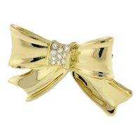 Estate Diamond Bow Brooch Pin 18K Yellow Gold 0.33 CTW G/VS Diamonds Ladies