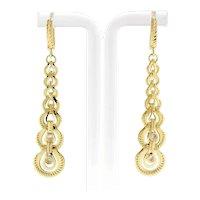 "Reversible Gemstone Drop Dangle Graduating Circle Earrings 14K Yellow Gold 2.25"""