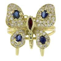 Vintage Gemstone Diamond Butterfly Statement Ring 14K Yellow Gold Ladies SZ 7.75