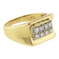 Men's 2-Row Diamond Ring 14K Yellow Gold 0.60 CTW ROU Diamonds Size 10.75 Estate
