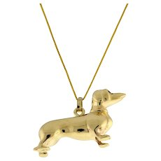 Vintage Dachshund Dog Charm Pendant 14K Yellow Gold 17 x 32 mm Unisex Estate