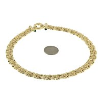 """Estate Fancy Link Chain Circle Clasp Necklace 14K Y/Gold Cabochon Green Gems 16"""""""