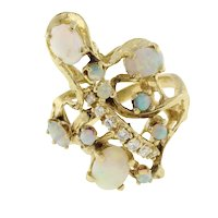 Vintage Fire Opal Diamond Statement Ring 14K Yellow Gold 1.76 CTW Gems Size 7.25