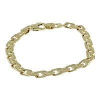 """Estate Fancy Link Chain Bracelet 14K Italian Yellow Gold 7.75"""" Unisex"""