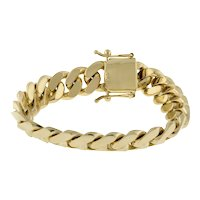 "Men's Cuban Link Chain Bracelet 10K Solid Yellow Gold Size 8.25"" Estate"