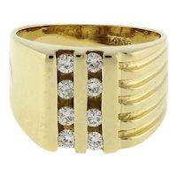 Men's Channel Set Diamond Wide Band Ring 14K Yellow Gold Ridged Size 9.25 Estate