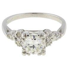 Art Deco Platinum Round Solitaire Diamond Accent Engagement Ring 1.00 TW SZ 5.75