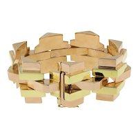 "Estate Geometric Two-Tone Gold Chunky Wide Bracelet 18K Yellow Rose Gold 7.5"""