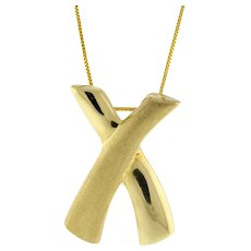 """Estate X Slider Pendant 14K Yellow Gold Brushed Polished Gold Large Size 1"""""""