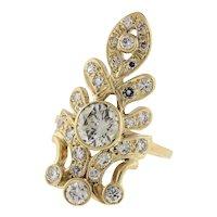 Diamond Statement Ring 14K Yellow Gold 2.10 CTW Bezel Set Ladies Size 7