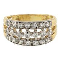 22K Yellow Gold 916 Vintage 3-Row Diamond Ring 0.50 CTW Round Diamonds Size 4.25