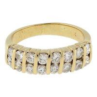 Estate Two-Row Diamond Half Eternity Band Ring 14K Yellow Gold Swirl Design SZ 5