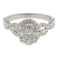 Estate Double Halo Diamond Engagement Ring 14K White Gold 1.50 CTW Accents SZ 7