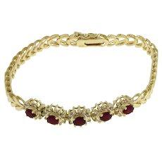 "Ruby Diamond Accent Bracelet 14K Yellow Gold Franco Chain 2.25 CTW 7.5"" Estate"
