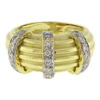Estate Diamond Ridged Dome Ring 14K Yellow Gold 0.40 CTW Ladies Size 6.25