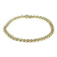 "S-Link Diamond Tennis Bracelet 14K Yellow Gold 0.75 CTW 4 mm Ladies Estate 7"""