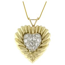 "1.65 TW Diamond Heart Pendant 14K 2-Tone Gold Old Euro Cut Diamonds 1.25"""